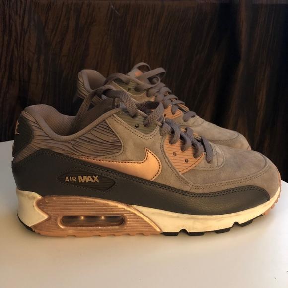 huge selection of ba28c 81e17 ... Women s Nike Air Max 90 Bronze Rose Sneakers ...